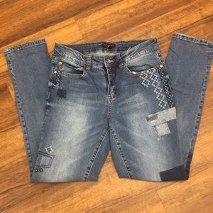 Patchwork Jeans Cropped Size 8